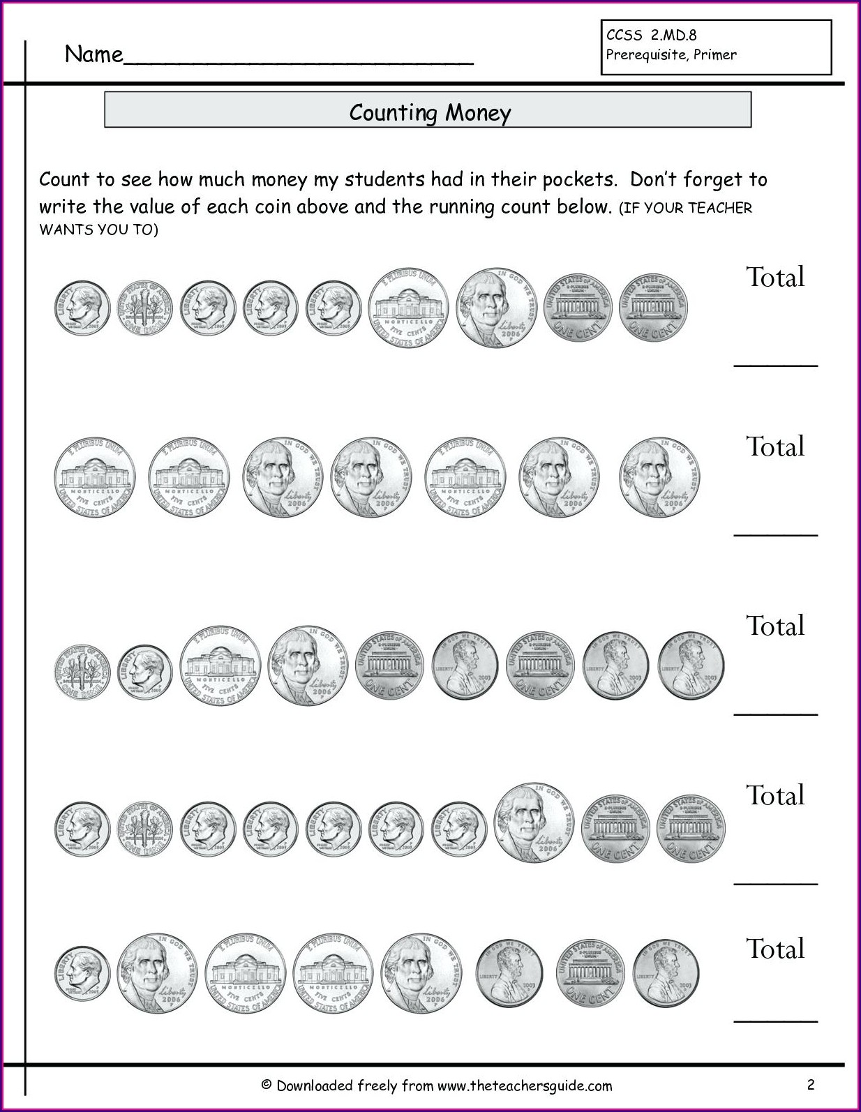 First Grade Coin Counting Worksheets