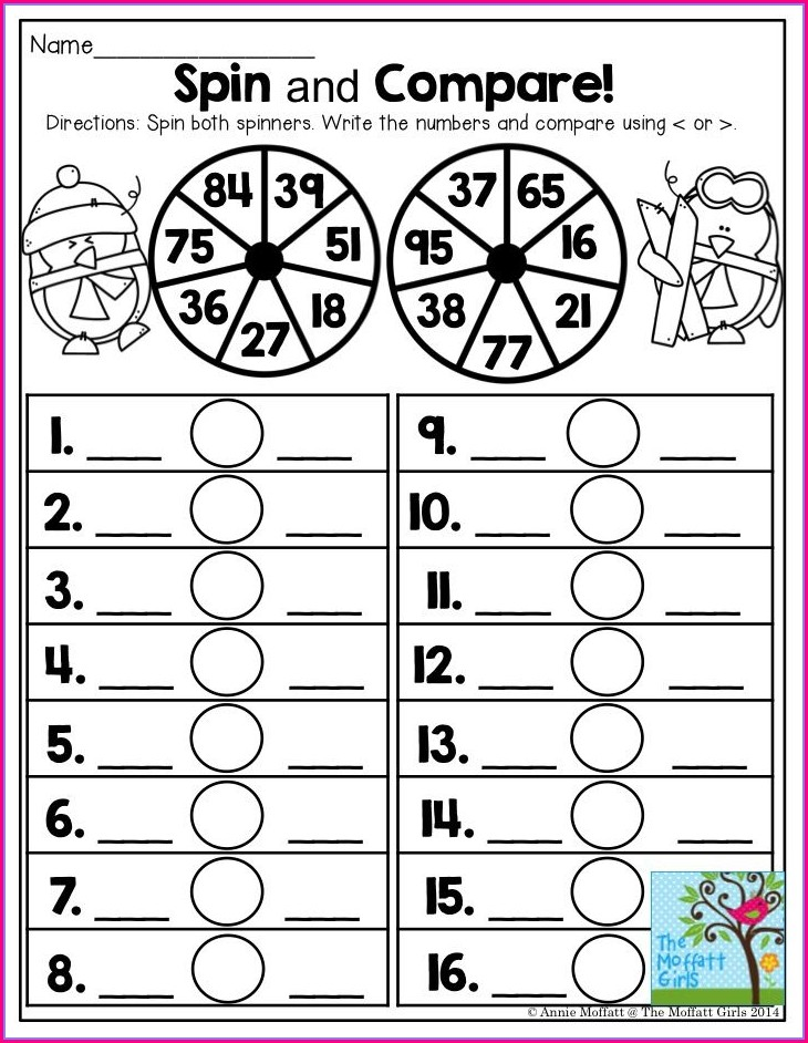 First Grade Comparing Two Digit Numbers Worksheet