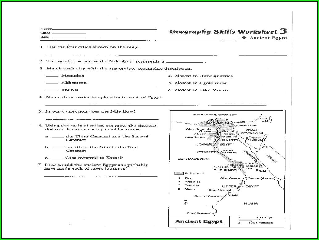 First Grade Egypt Worksheets