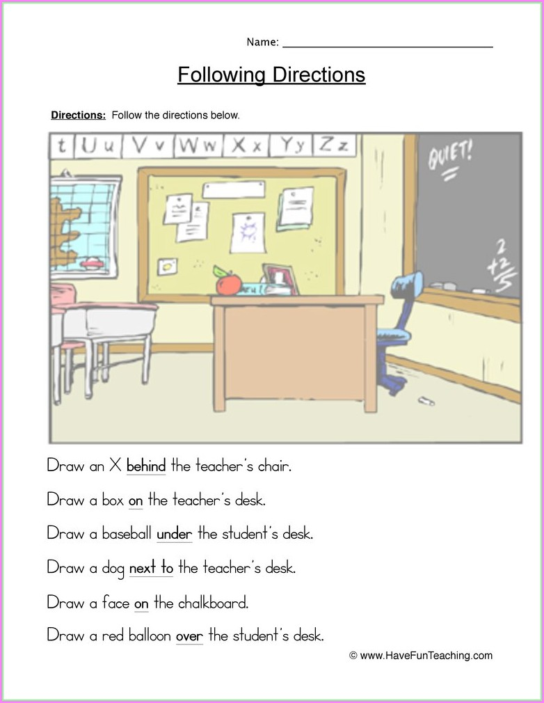 First Grade Following Directions Worksheets