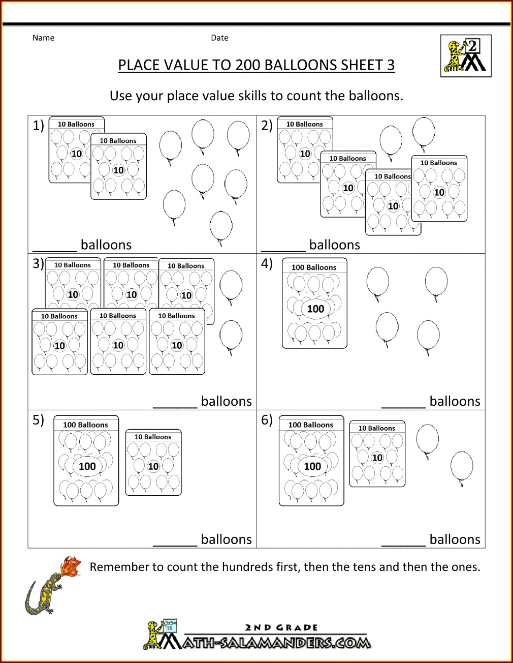 First Grade Free Printable Place Value Worksheets