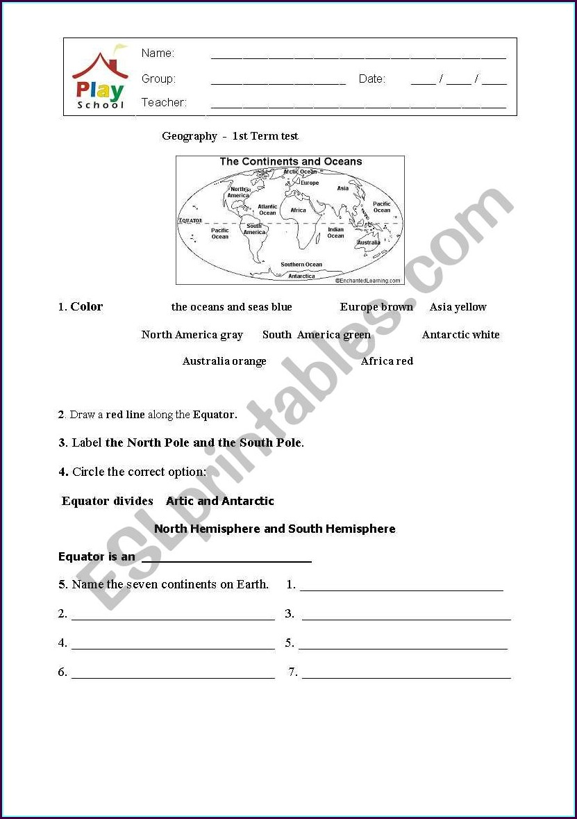 First Grade Geography Worksheets