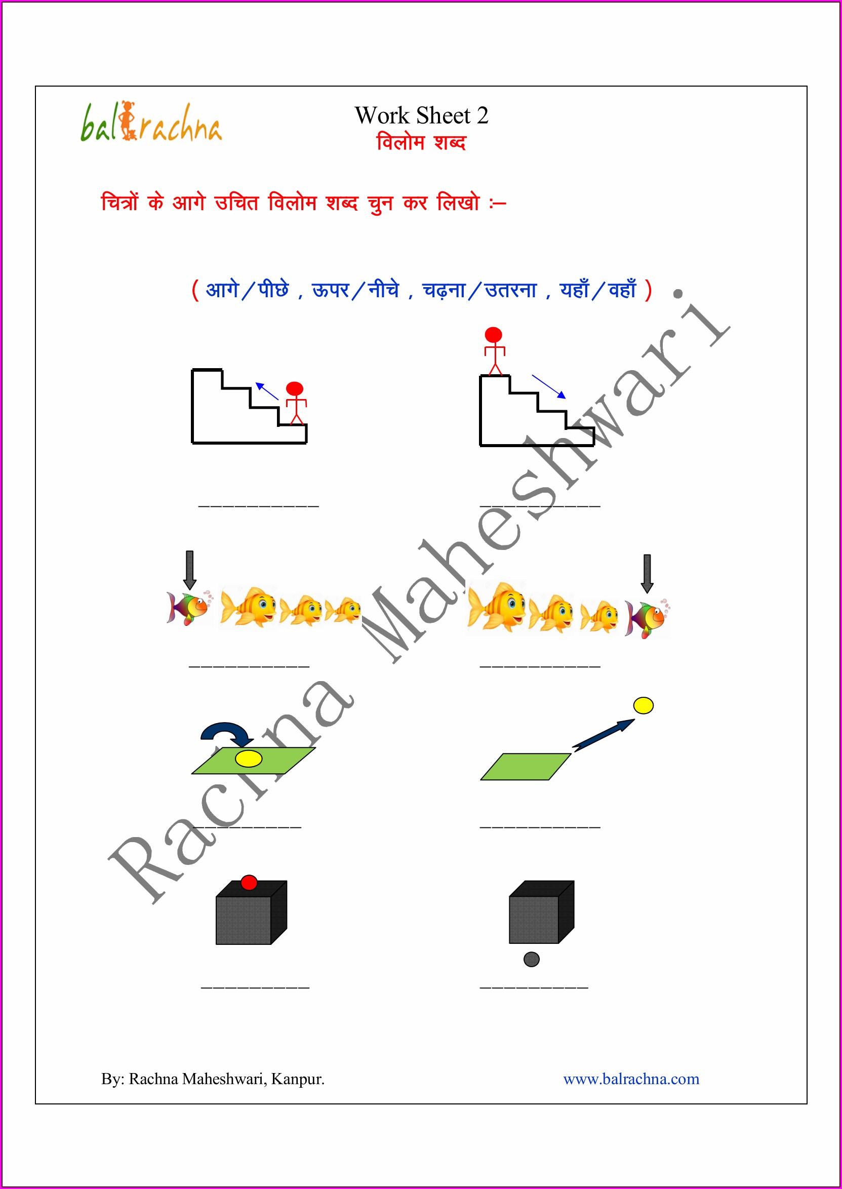 First Grade Hindi Worksheet