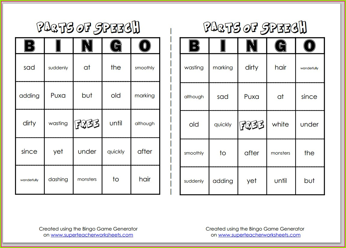 First Grade Math Bingo Worksheets