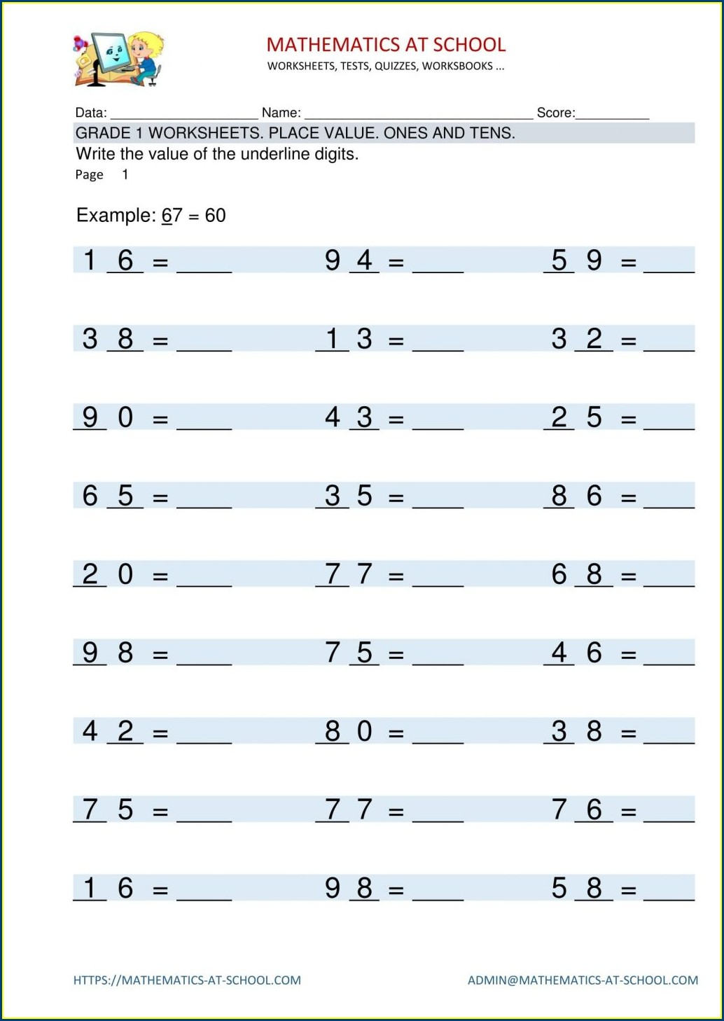 First Grade Math Facts Worksheets