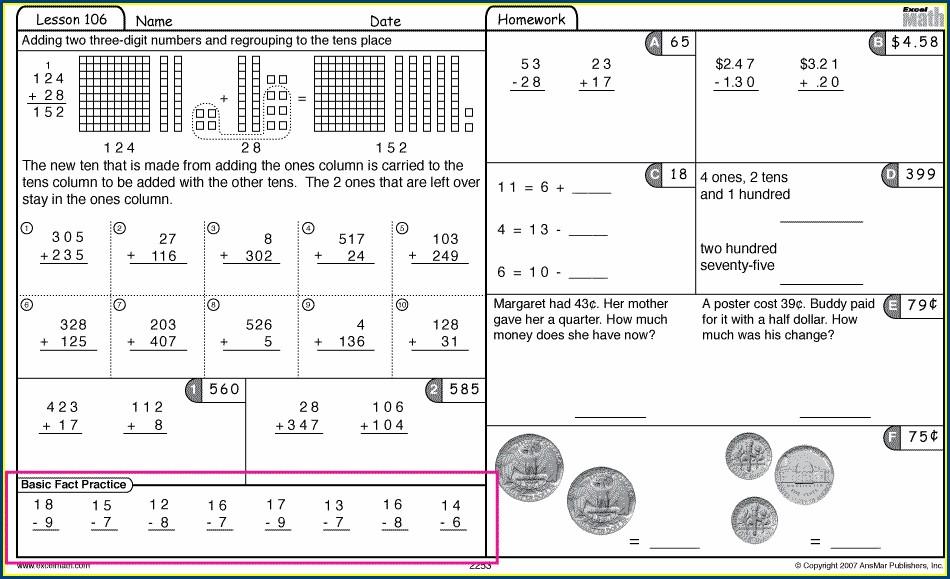 First Grade Math Warm Up Worksheets