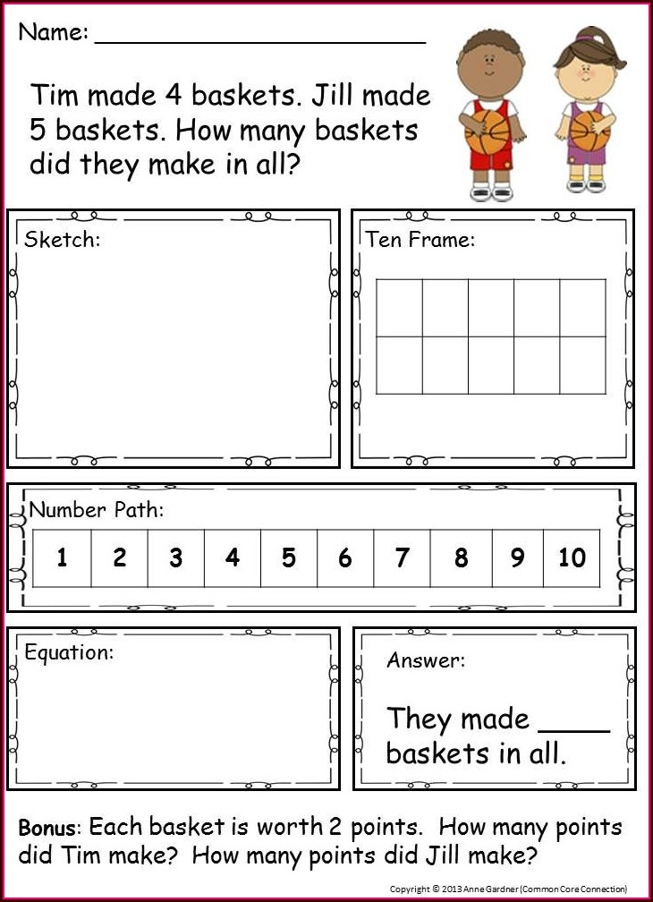 First Grade Math Word Problems Worksheets