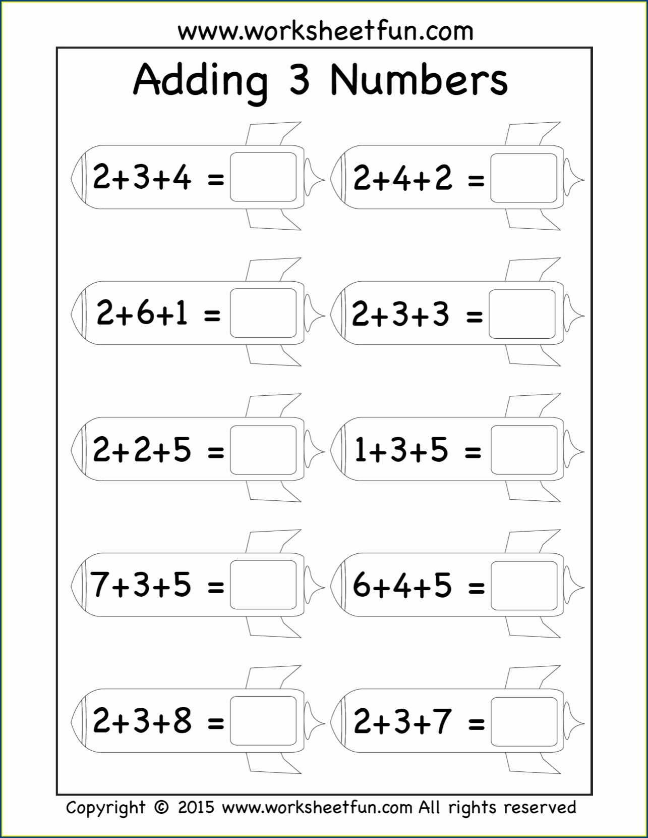 First Grade Math Worksheets Adding 3 Numbers
