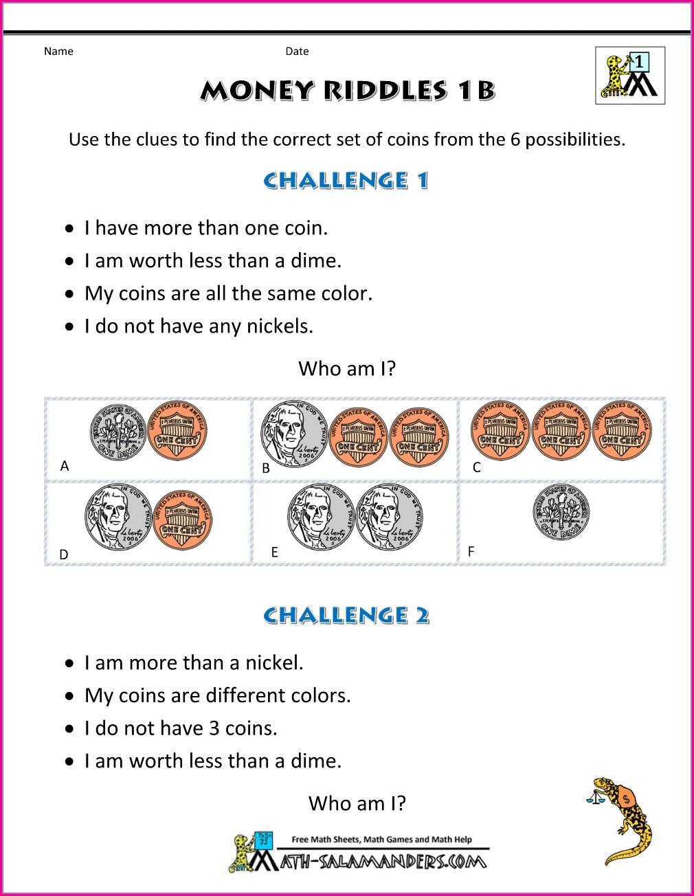 First Grade Math Worksheets Problem Solving