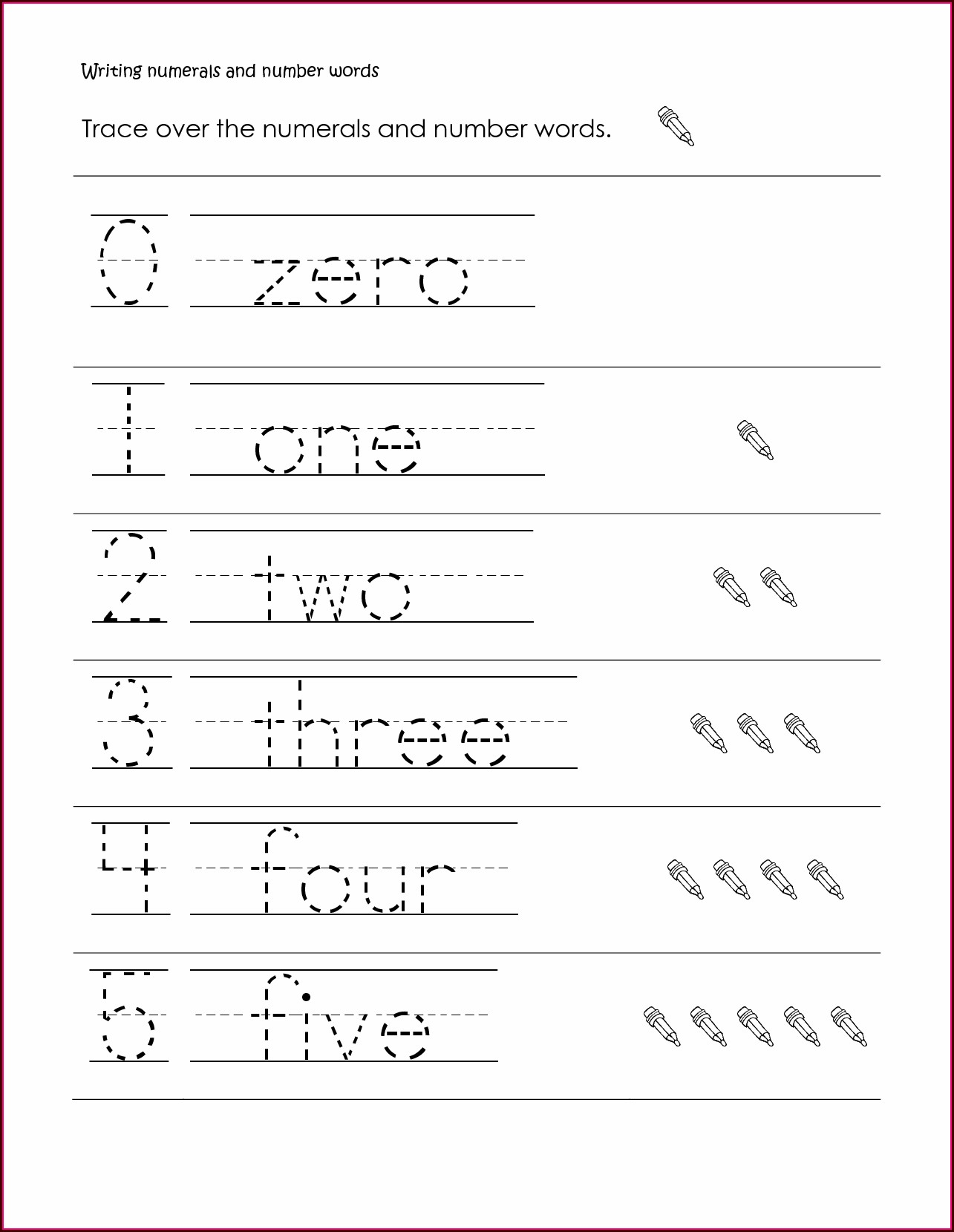 First Grade Number Writing Worksheets