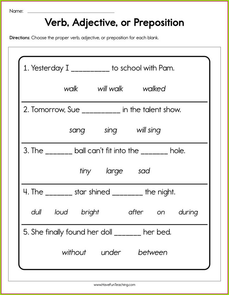First Grade Preposition Worksheets For Class 1