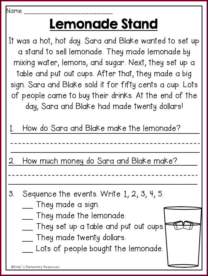 First Grade Reading Comprehension Worksheets 1st Grade