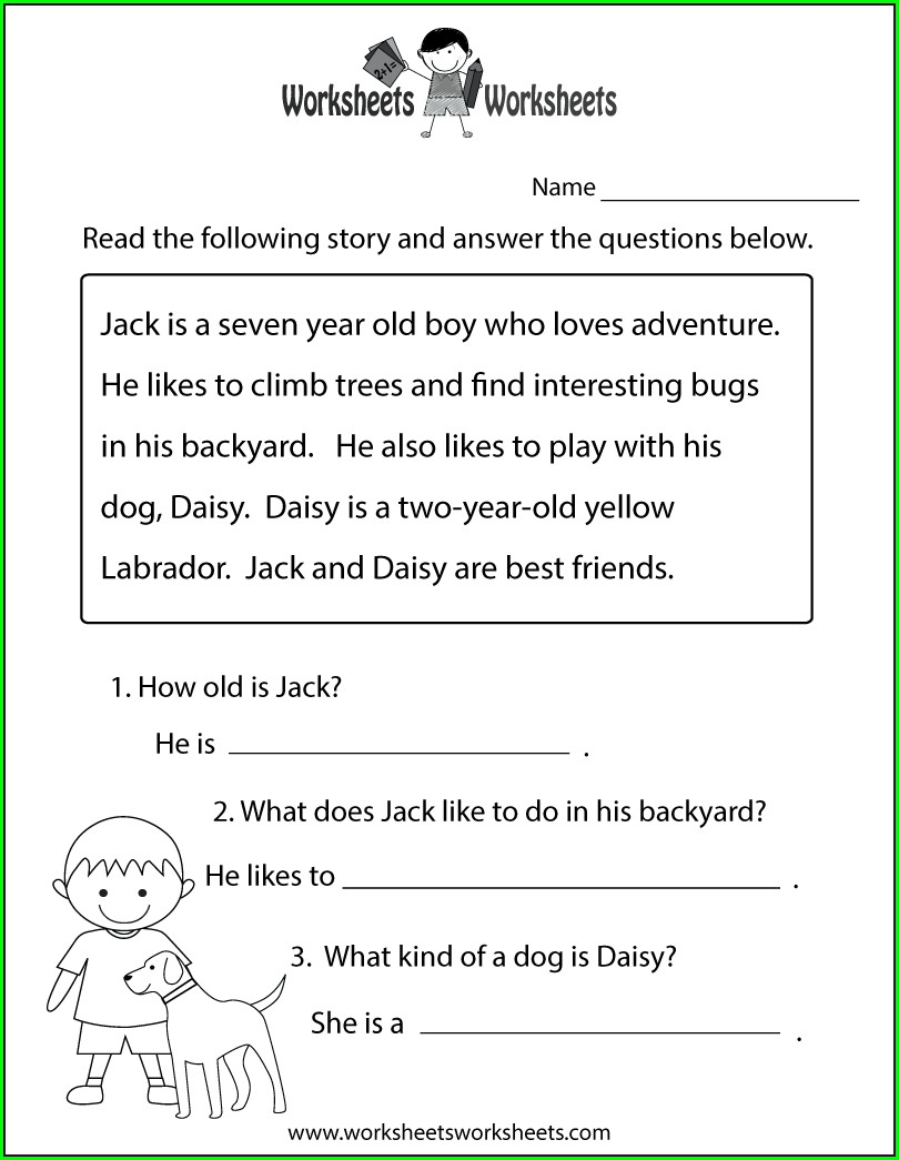 First Grade Reading Worksheet Free