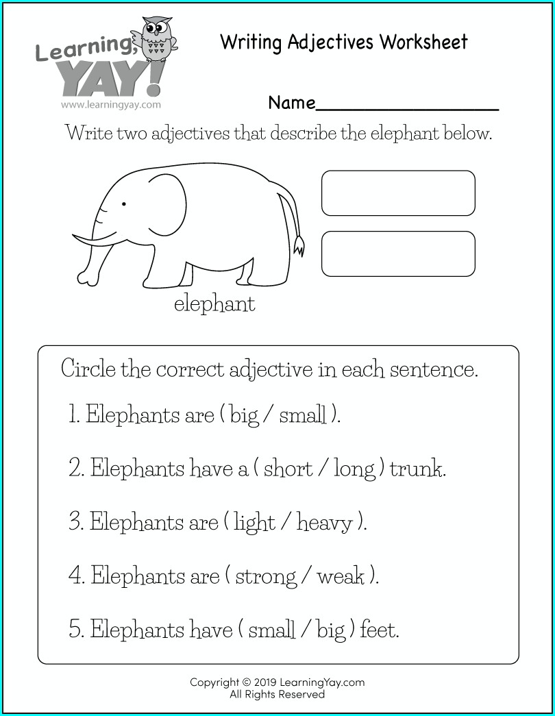 First Grade Worksheet On Adjectives For Grade 1