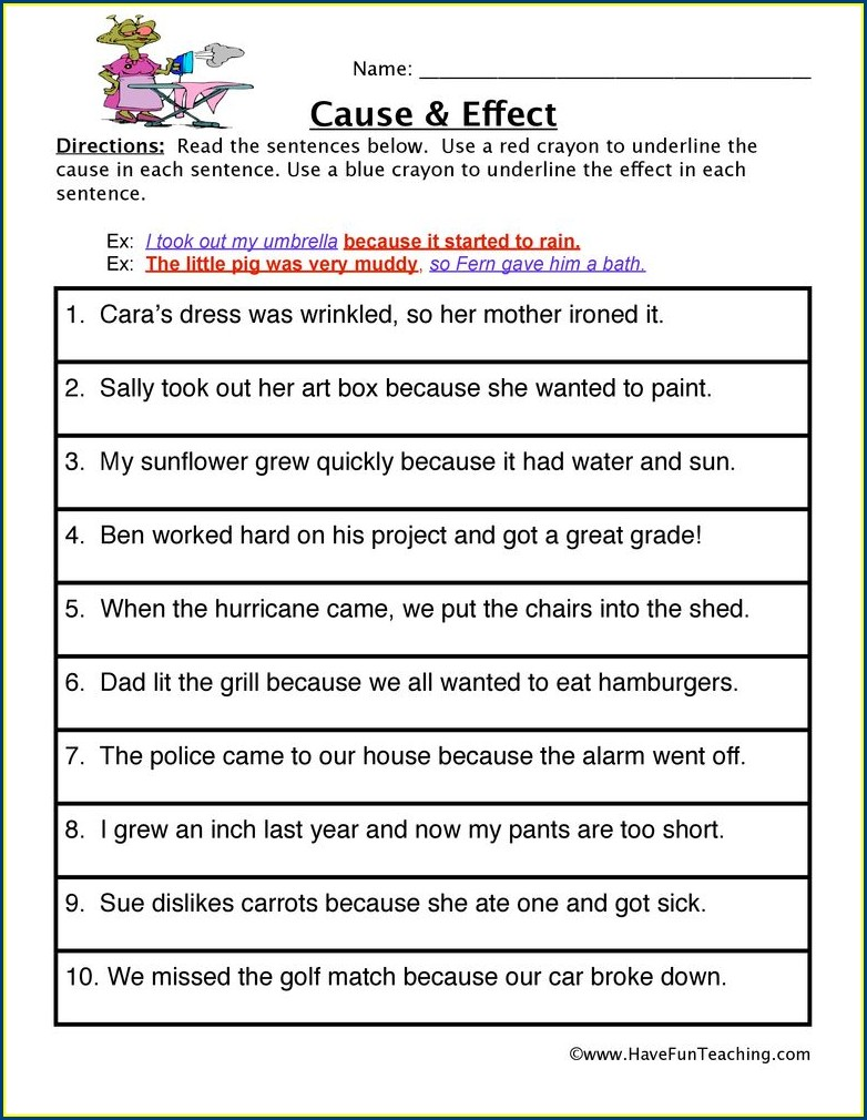 First Grade Worksheet On Cause And Effect