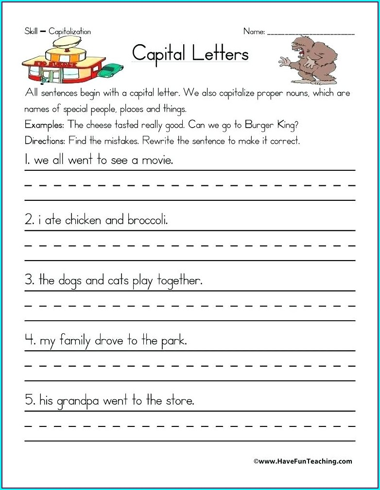 First Grade Worksheets Proper Nouns