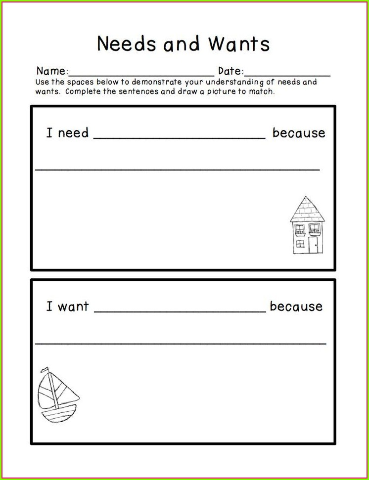 First Grade Worksheets Wants And Needs
