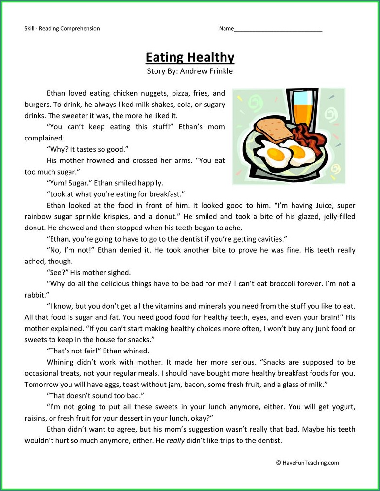 Food And Health Worksheets For Grade 5 Pdf