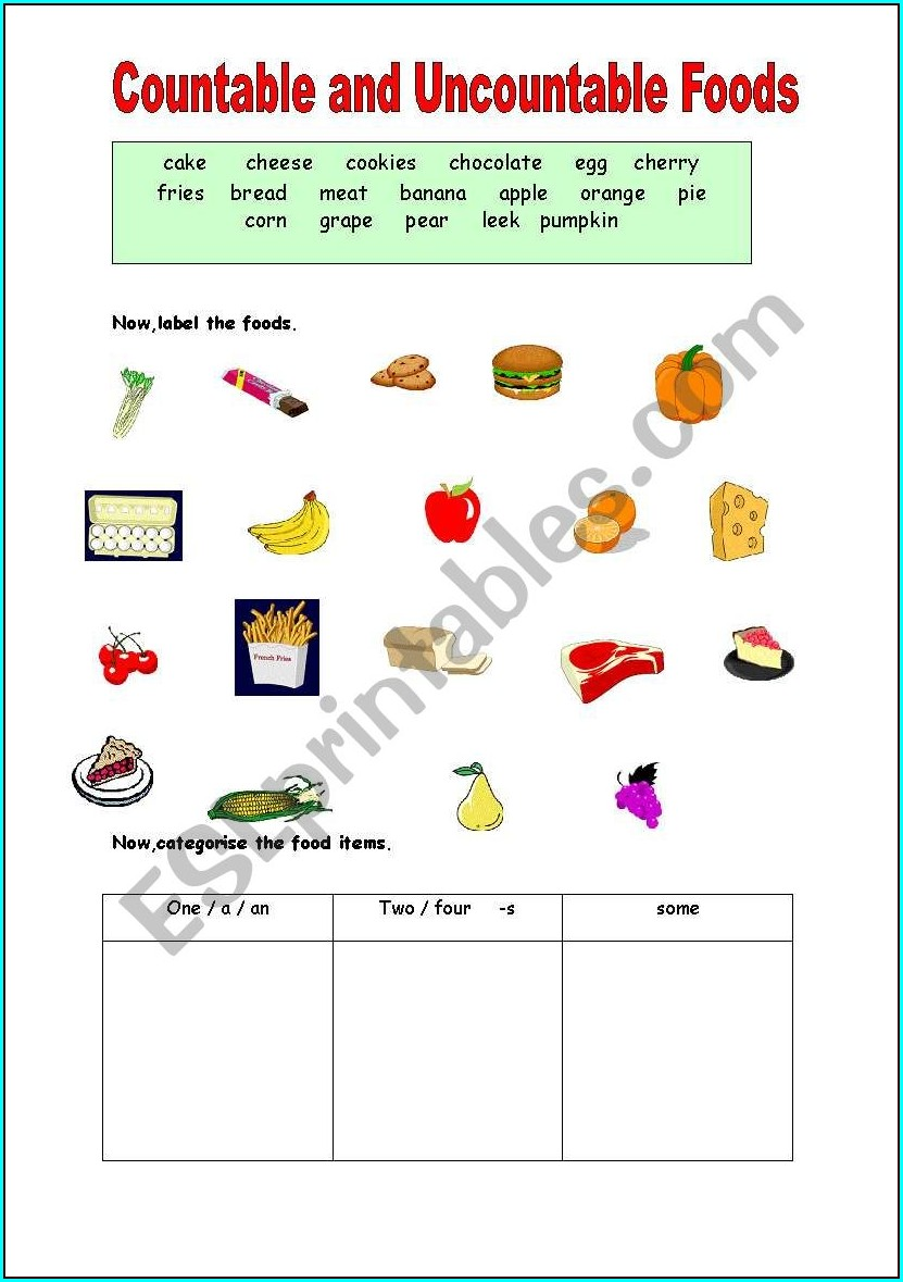 Food Countable Uncountable Worksheet Pdf