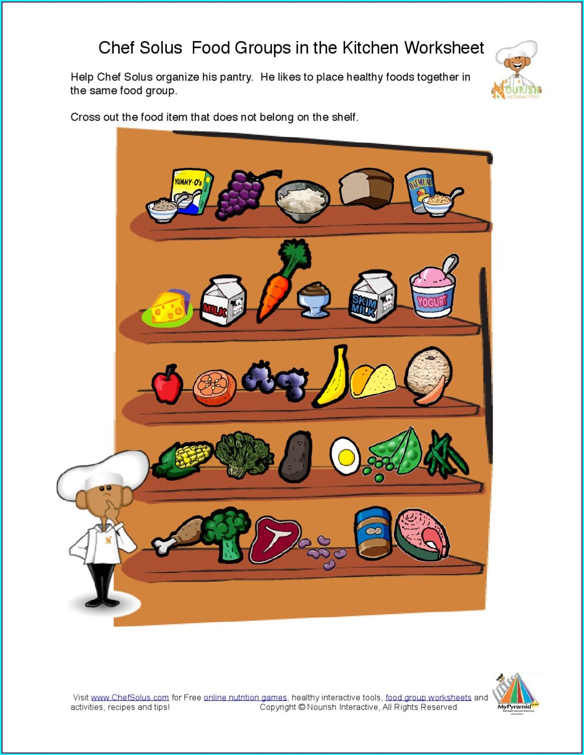 Food Groups And Nutrients Worksheet