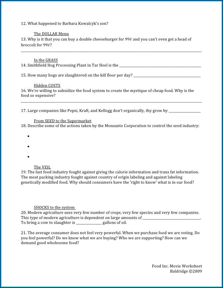 Food Inc 2009 Worksheet Answers