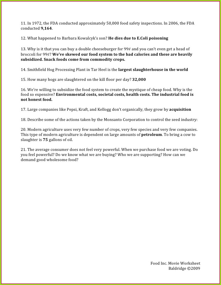 Food Inc Movie Worksheet Baldrige 2009 Answers