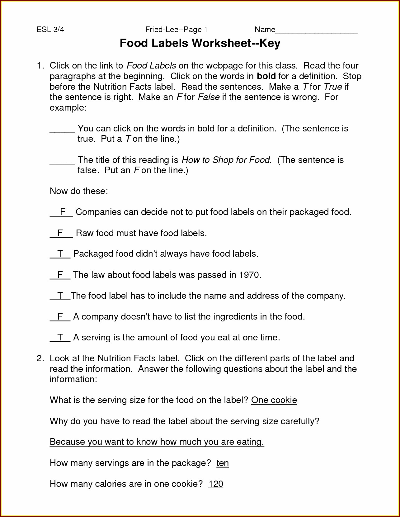Food Label Worksheet Middle School