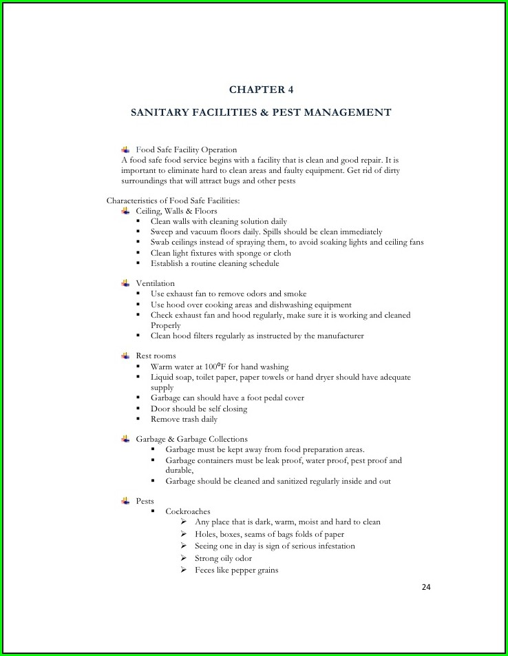 Food Safety And Sanitation Worksheet Answers
