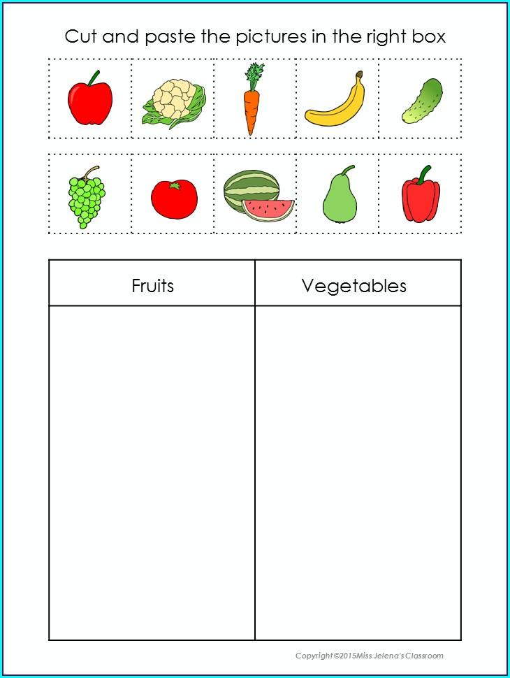 Food Sorting Worksheet Kindergarten