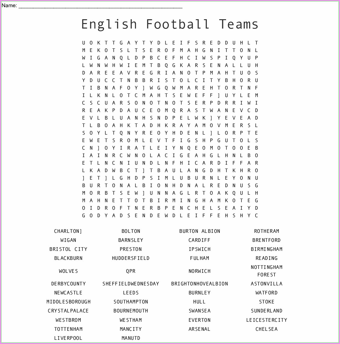 Football Word Search Printable Uk