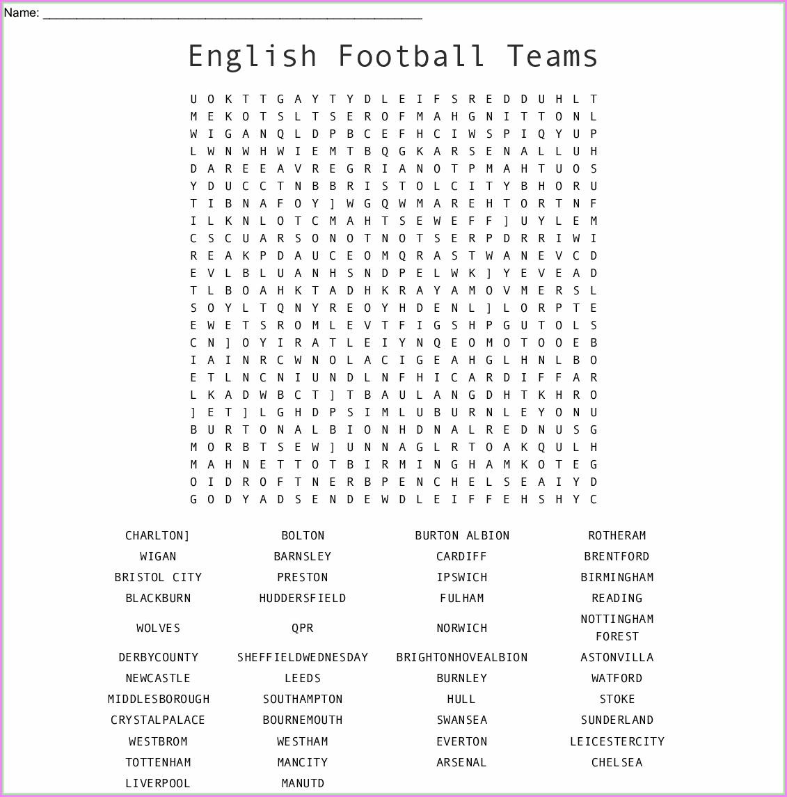 Football Word Search Printable Uk