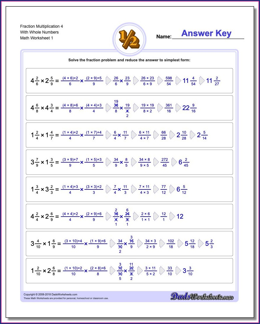 Fourth Grade Fractions Of Whole Numbers Worksheet