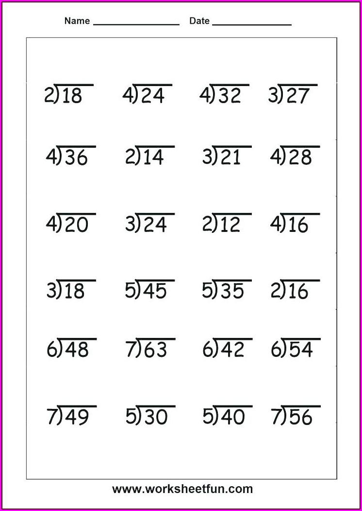 Fourth Grade Math Worksheets Long Division