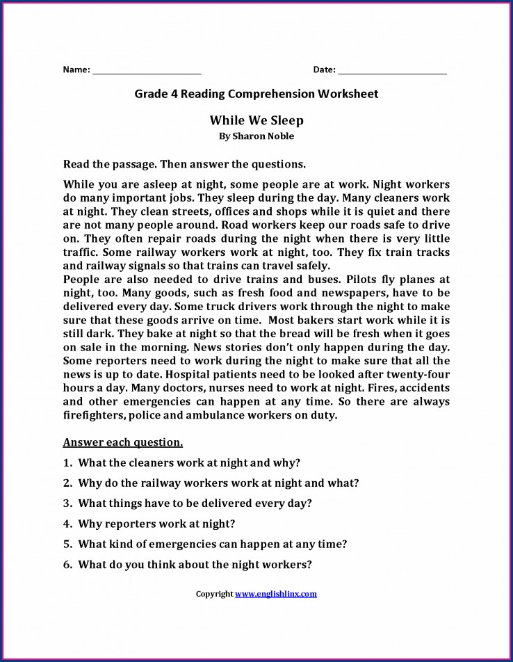 Fourth Grade Math Worksheets With Answer Key