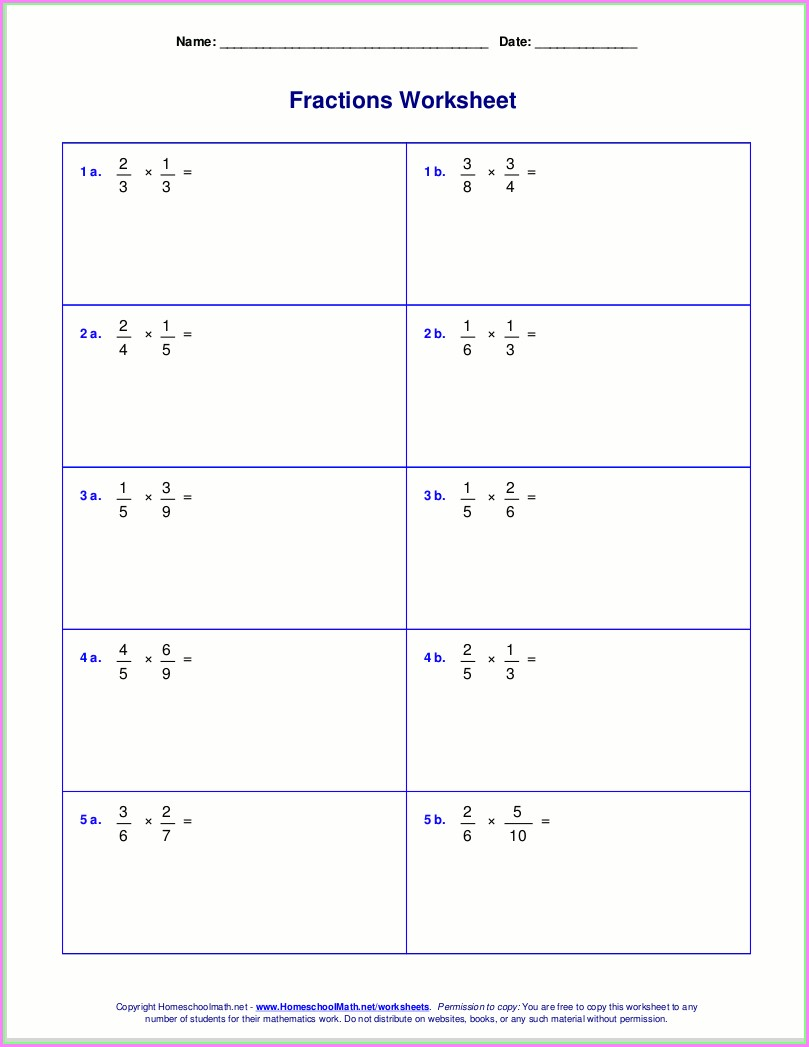 Fraction Multiplication Worksheet Grade 5
