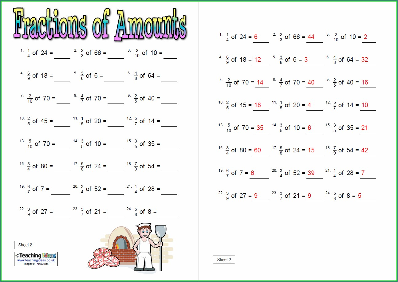Fractions Of Whole Numbers Worksheet Ks2