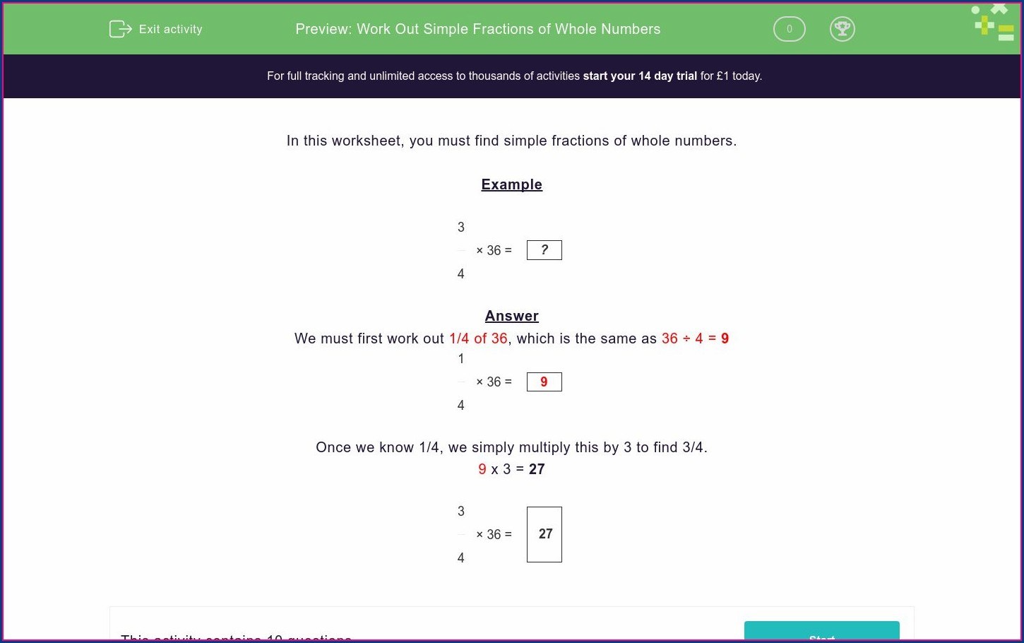 Fractions Of Whole Numbers Worksheet