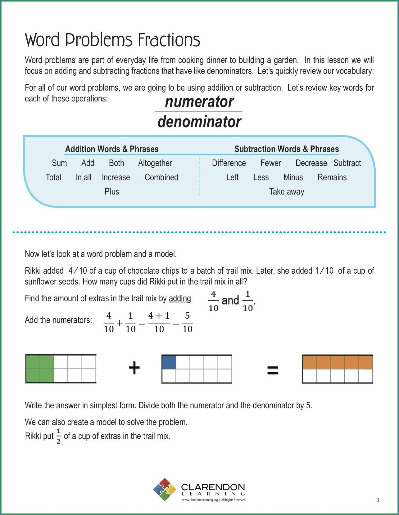 Fractions Worksheets With Word Problems