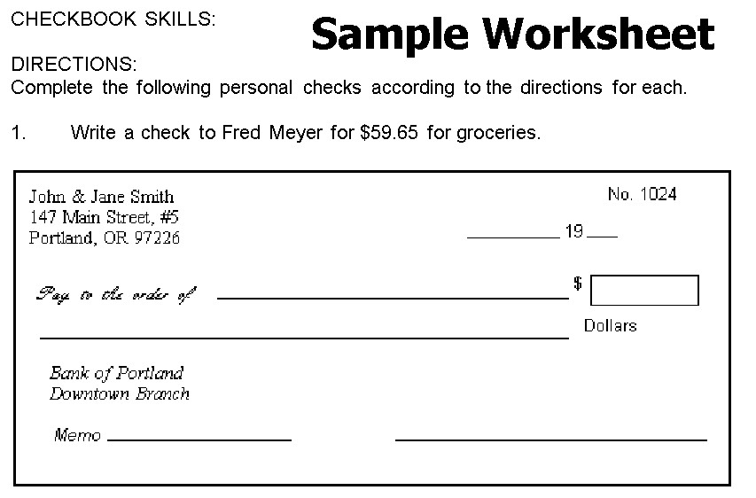 Free Check Writing Practice Worksheets