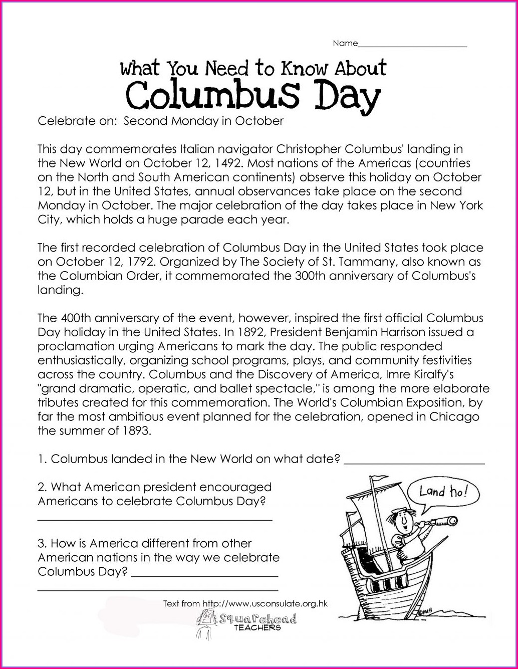 Free Christopher Columbus Worksheets For Kindergarten