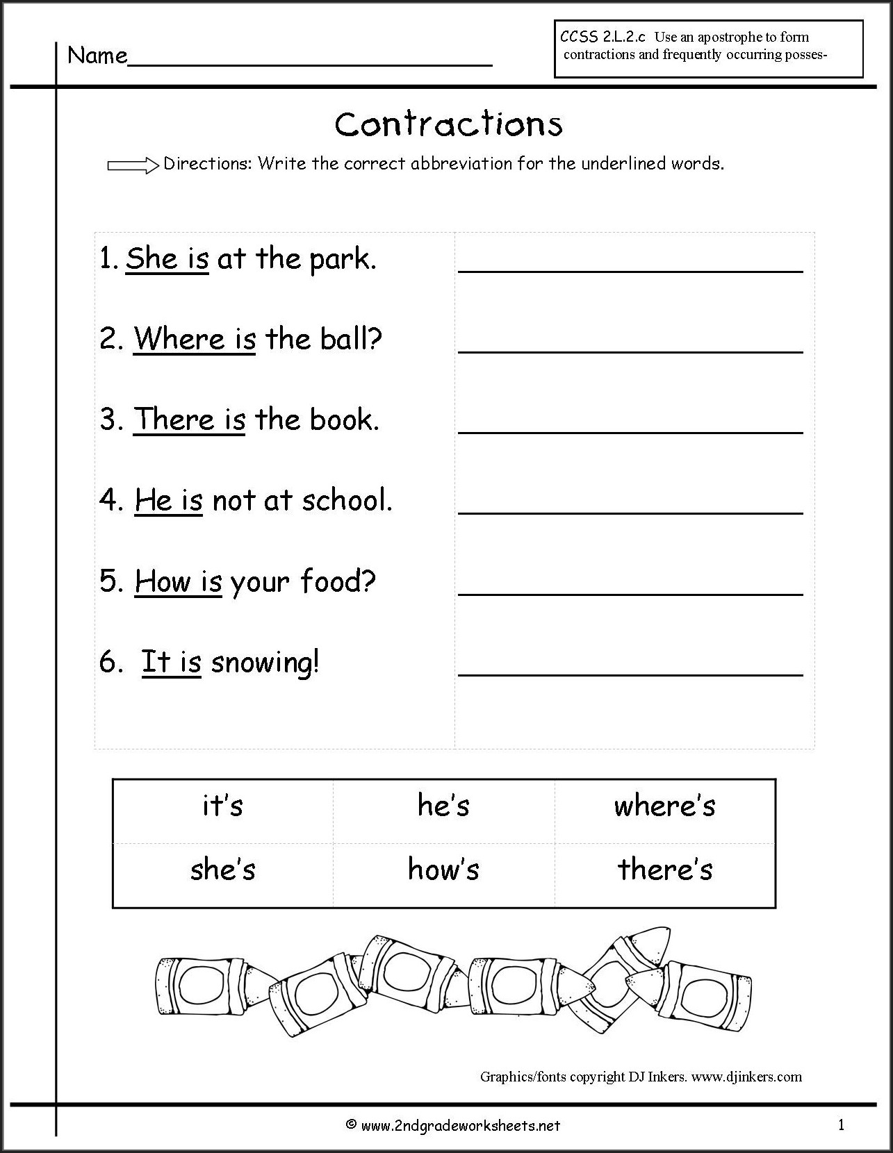 Free Contractions Worksheet 1st Grade