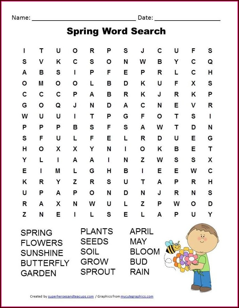 Free Easter Word Search Printable Worksheets