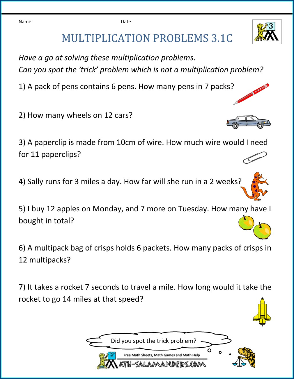 Free Maths Worksheets Word Problems Year 4
