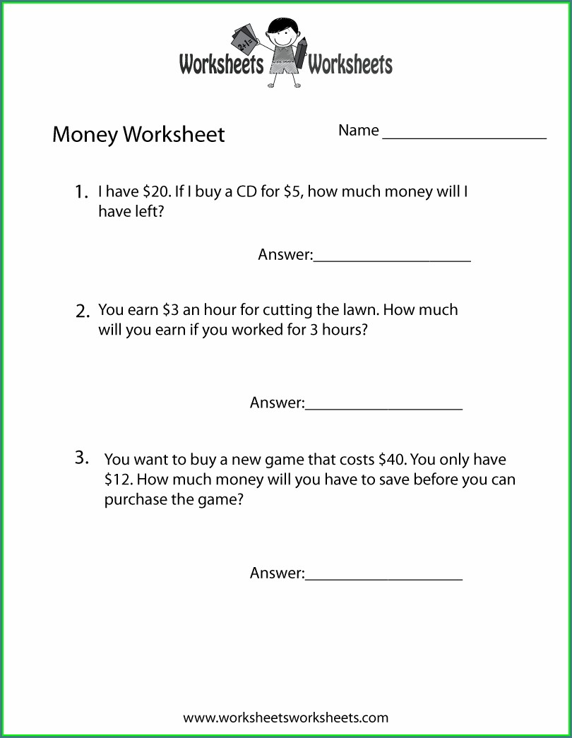 Free Money Word Problem Worksheets For 2nd Grade