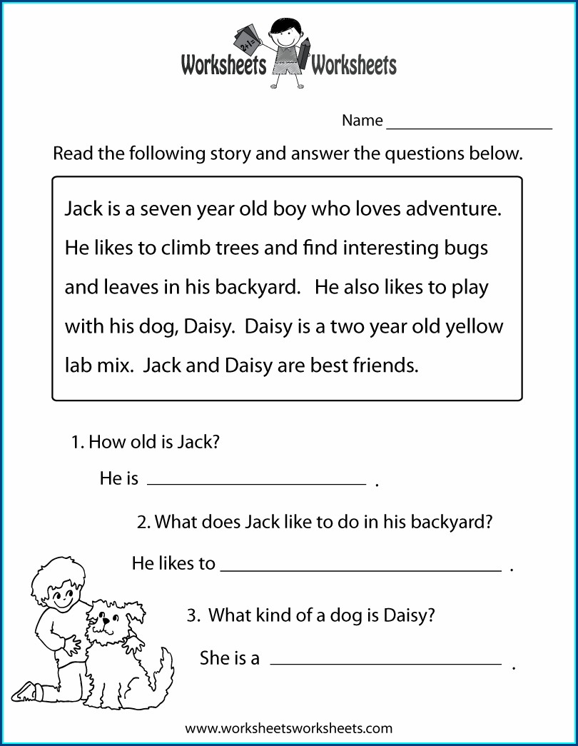 Free Printable 2nd Grade Reading Worksheet