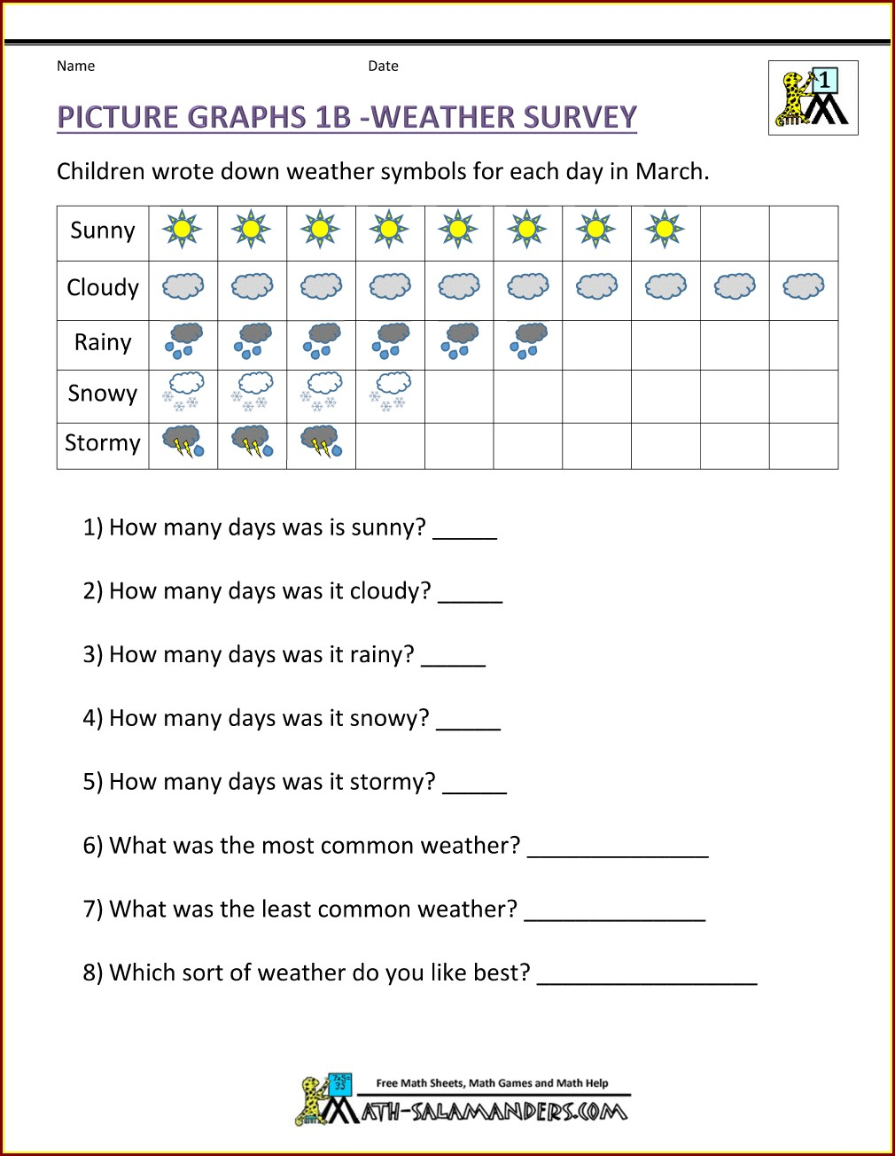 Free Printable 3rd Grade Graphing Worksheets
