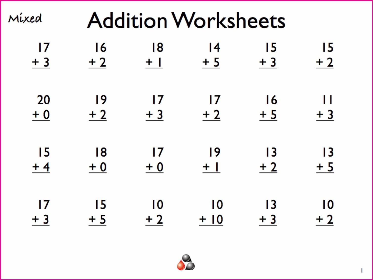 Free Printable Addition Worksheet 1st Grade