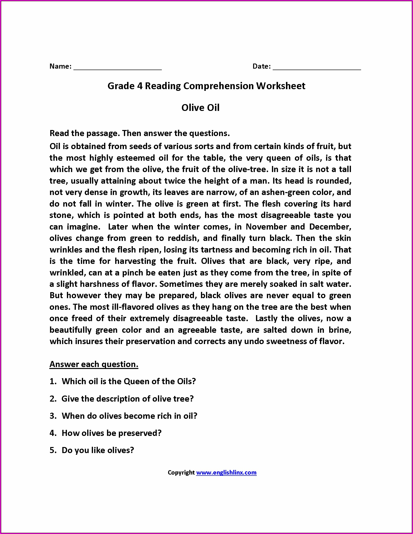 Free Printable Grade 8 English Worksheets Pdf