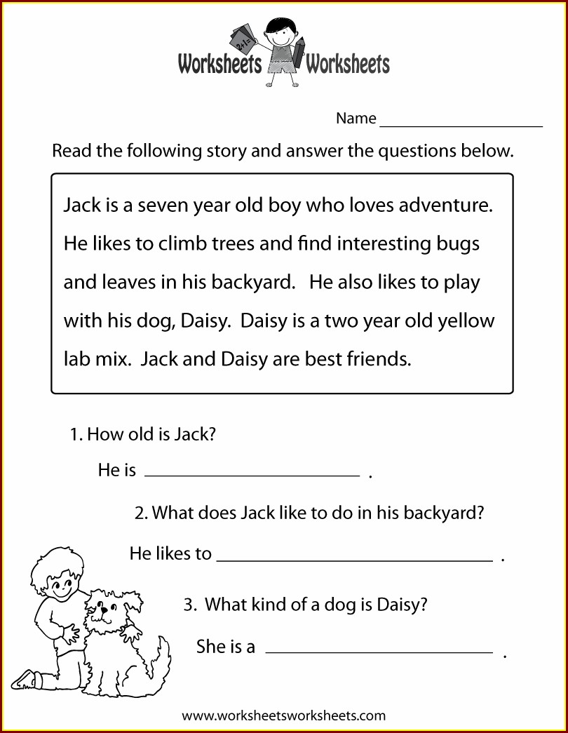 Free Printable Reading Comprehension Grade 1