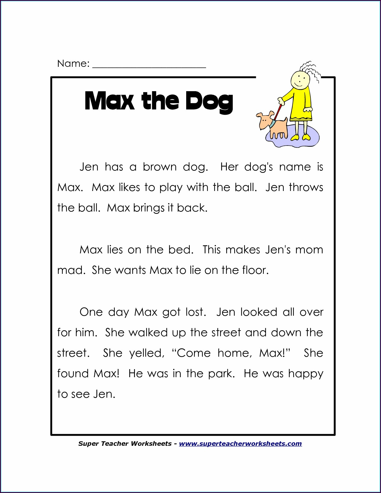Free Printable Reading Worksheet For Kindergarten